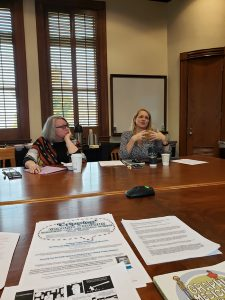 """Rachael Zubal-Ruggieri, on left, listening to Elizabeth Donaldson, on right, during her workshop, """"Drawing Out the Public Sphere: A Workshop on 'Cripping' Graphic Medicine"""""""