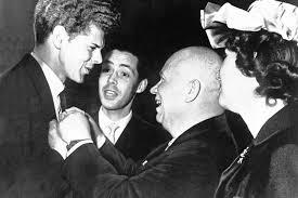 an Cliburn receives Tchaikovsky medal from Soviet Premier Nikita Kruschev, 1958